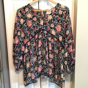 Knox Rose Floral Boho Empire Top Size 1